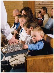 Children attend Mormon worship services with their parents.