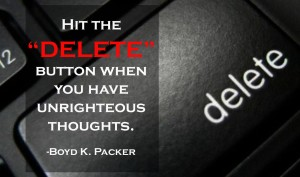 Delete button on a keyboard with quote about thoughts from Boyd Packer.