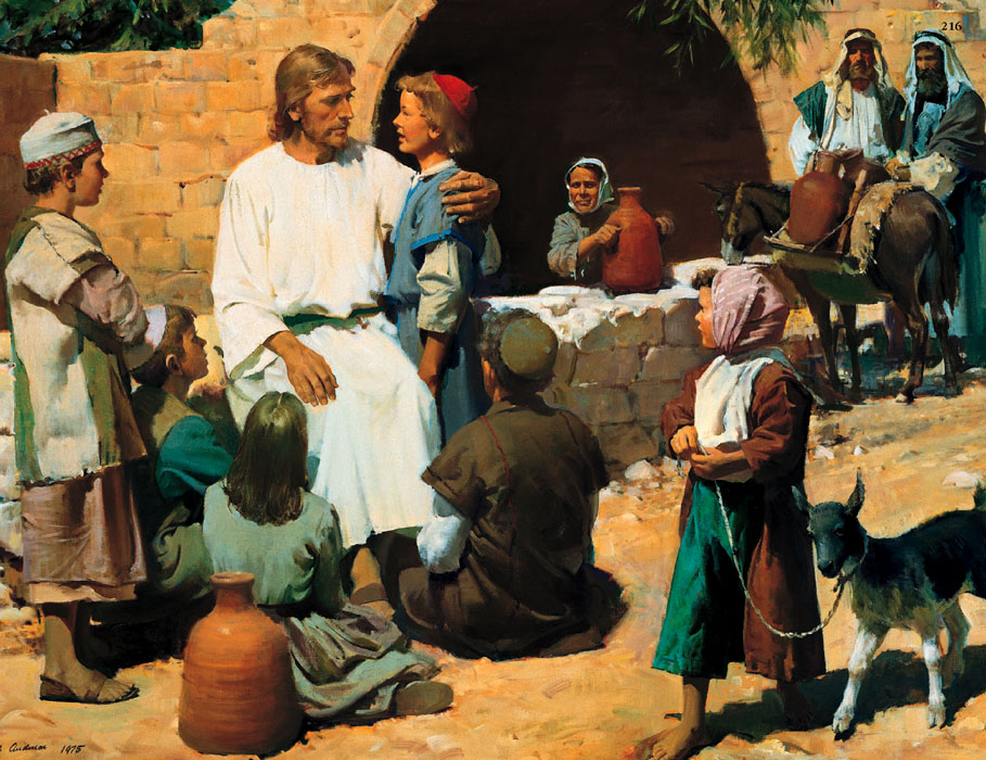 Mormon Christ with little children